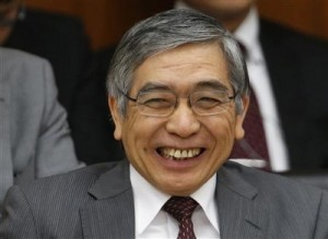 BOJ Governor Kuroda smiles as he attends the lower house financial committee of Parliament in Tokyo